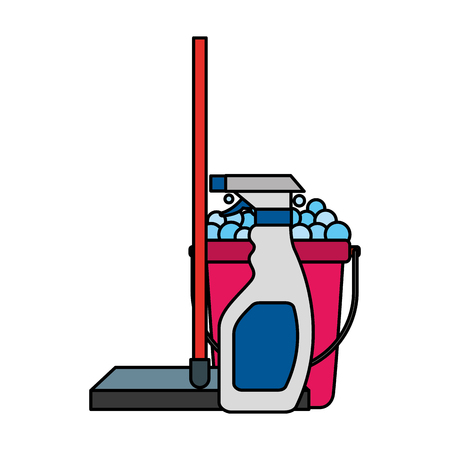 window squeegee bucket detergent cleaning equipment vector illustration Illustration