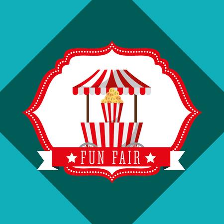 booth popcorn carnival fun fair retro label vector illustration Banque d'images - 110406010