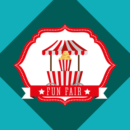 booth popcorn carnival fun fair retro label vector illustration