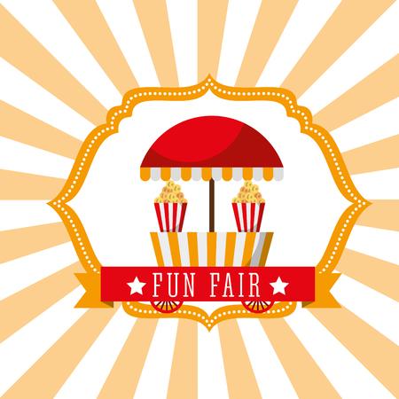 booth popcorn food fun fair retro label vector illustration
