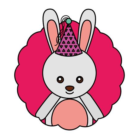 cute rabbit kawaii party hat vector illustration Illustration