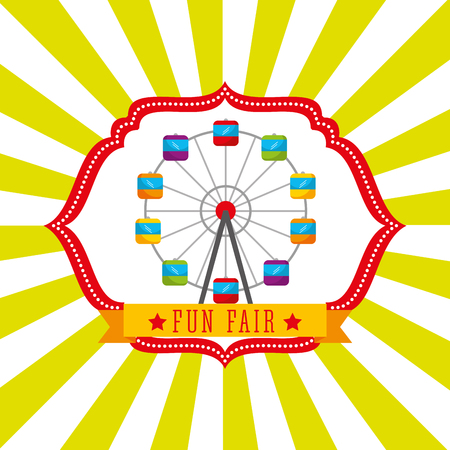 ferris wheel carnival fun fair retro label vector illustration