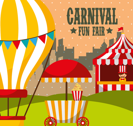 hot air balloon booth pop corn attraction carnival fun fair vector illustration
