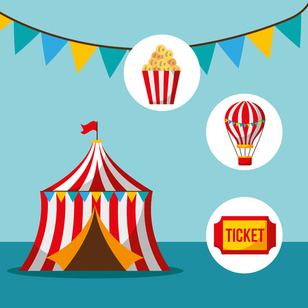 tent ticket pop corn amusement carnival fun fair vector illustration