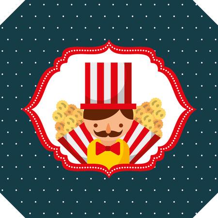 seller man and popcorn carnival fun fair retro label vector illustration Ilustração