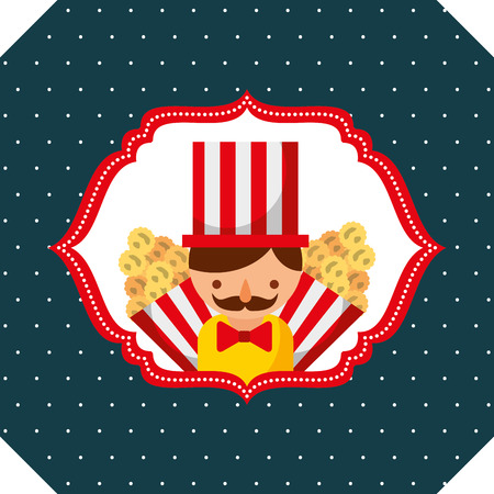 seller man and popcorn carnival fun fair retro label vector illustration Illustration