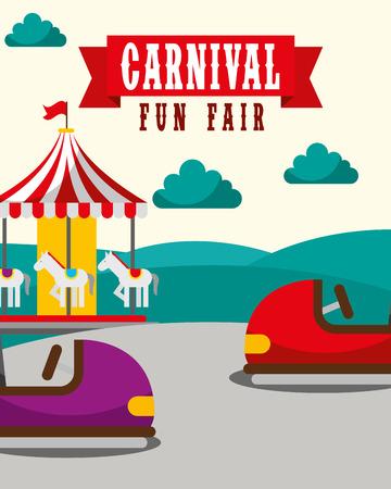 Coche de parachoques carrusel divertido carnaval feria de diversión ilustración vectorial Ilustración de vector