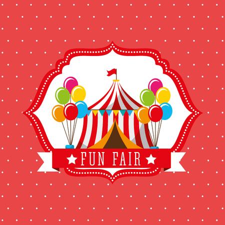 carnival tent balloons fun fair retro label vector illustration