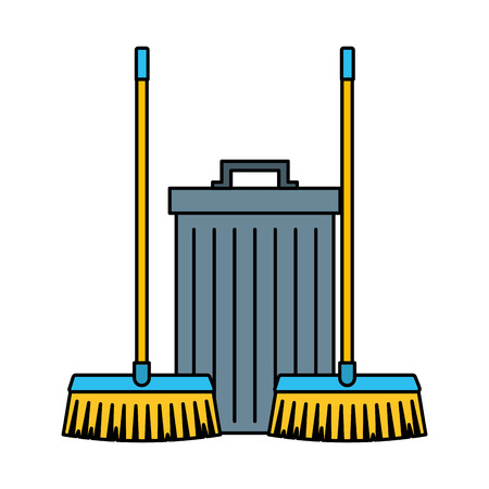 two broom and trash can cleaning equipment vector illustration