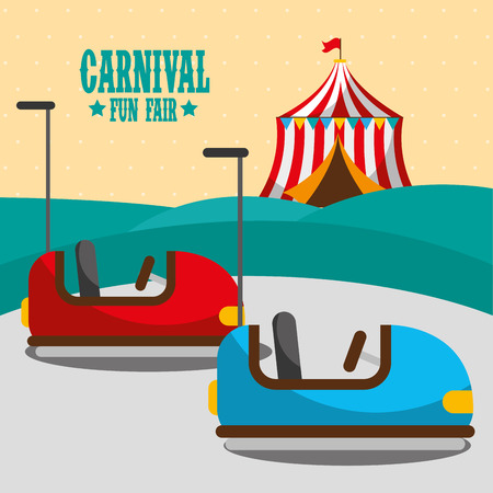 bumper car tent amusement carnival fun fair vector illustration