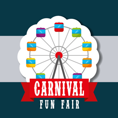 ferris wheel retro label carnival fun fair vector illustration Stock Vector - 110417980