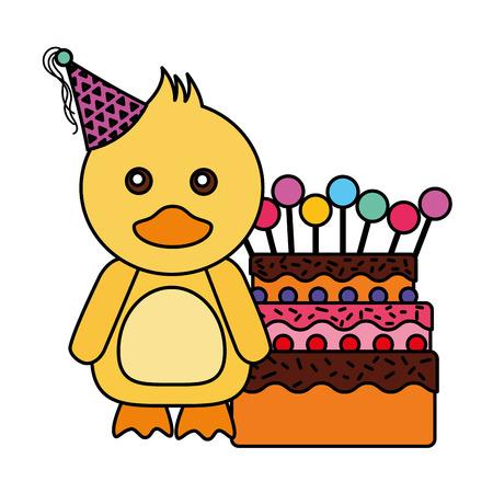 cute duck birthday sweet cake vector illustration
