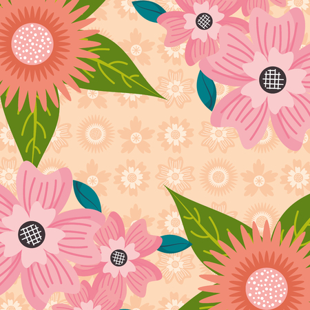 tropical natural flowers leaves background vector illustration