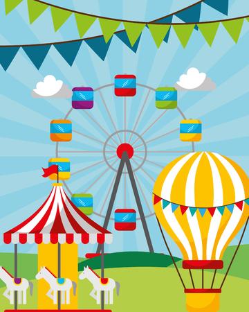 carousel ferris whell and air balloon park carnival fun fair vector illustration