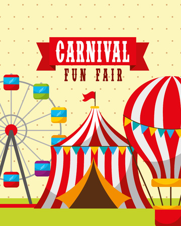 tent hot air balloons and carousel carnival fun fair vector illustration