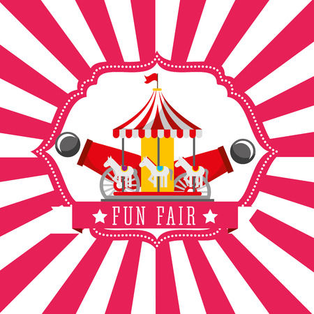 carnival carousel cannon fun fair retro label vector illustration