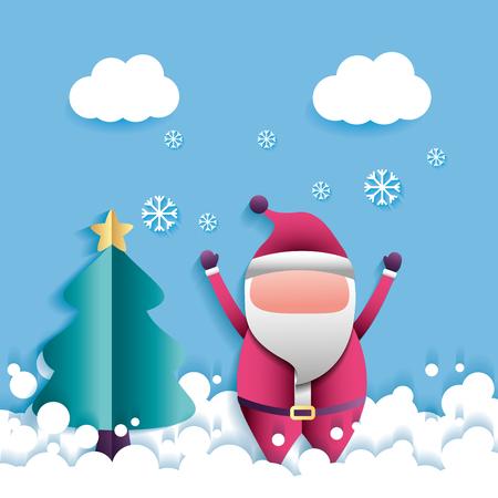 merry christmas clouds snowflakes santa claus  vector illustration Ilustração