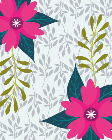 tropical natural pink flowers with leaves background vector illustration Ilustração