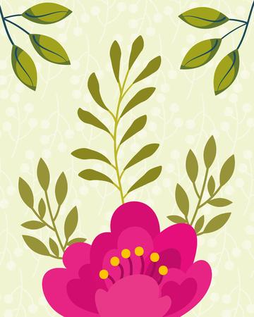 tropical natural pink flower leaves vector illustration Illustration