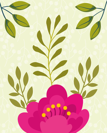 tropical natural pink flower leaves vector illustration