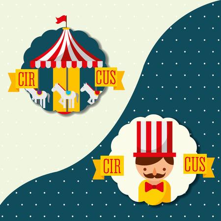 retro label man and carousel carnival fun fair vector illustration