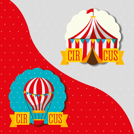 hot air balloon and tent circus attraction carnival fun fair vector illustration