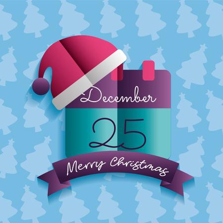 merry christmas calendar december hat santa claus  vector illustration
