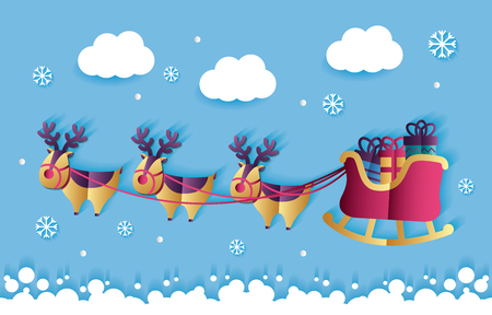 merry christmas clouds snow sled santa claus  vector illustration