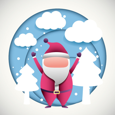merry christmas sticker snow clouds trees santa claus  vector illustration  イラスト・ベクター素材