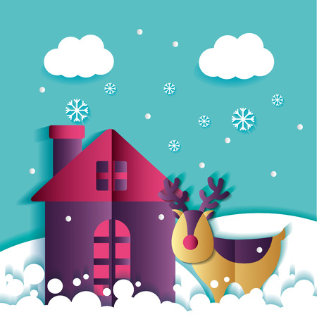 merry christmas moose house snow clouds cold vector illustration