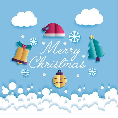 merry christmas bells santa claus  hats tree ball clouds snowflakes vector illustration
