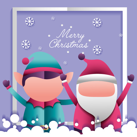 merry christmas santa claus  and elf hands up frame snow vector illustration Illustration