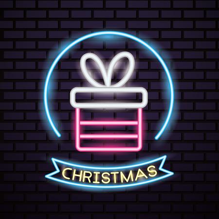 merry christmas sticker neon gift box ribbon vector illustration Ilustração