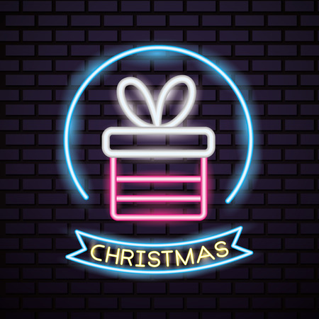merry christmas sticker neon gift box ribbon vector illustration Illustration