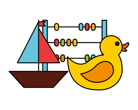 rubber duck boat abacus kid toys vector illustration Illustration