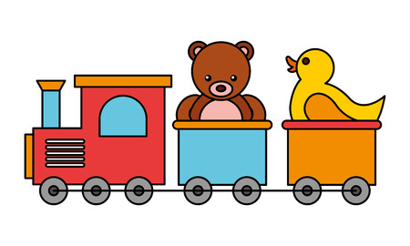 train bear rubber duck kid toys vector illustration Illustration