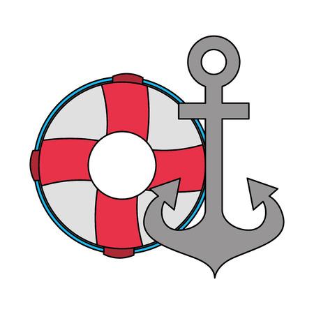 anchor and lifebuoy equipment nautical vector illustration image Illustration