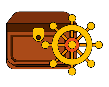 chest and boat helm equipment nautical vector illustration image Illustration