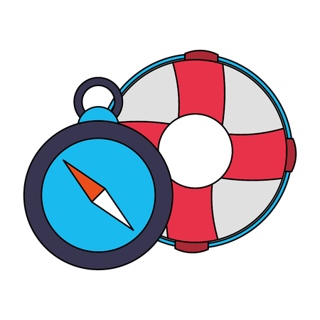 lifebuoy and compass equipment nautical vector illustration image 矢量图像
