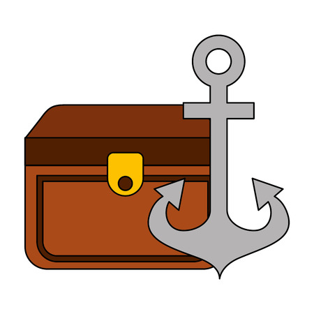 chest treasure and anchor equipment nautical vector illustration image 向量圖像