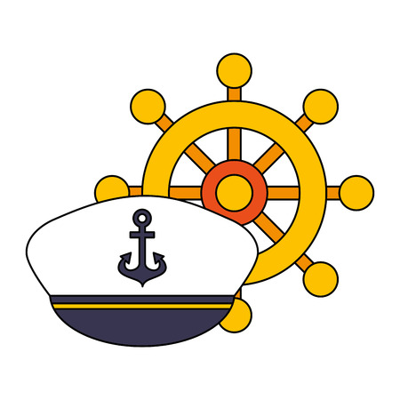 hat and boat helm equipment nautical vector illustration image 向量圖像