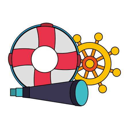 lifebuoy boat helm and spyglass equipment nautical vector illustration image