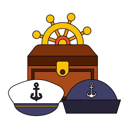 boat helm chest and hats equipment nautical vector illustration image Illustration
