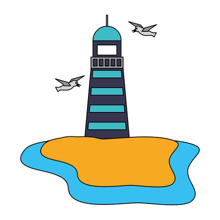 lighthouse and birds beach nautical vector illustration image