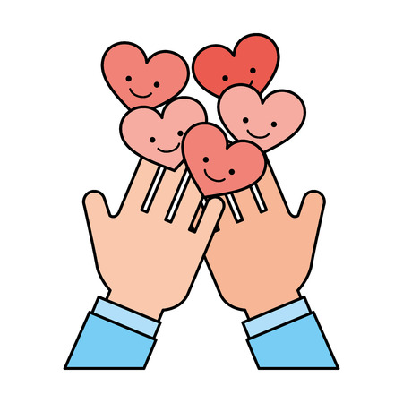 hands with hearts charity and donate vector illustration