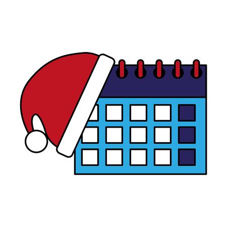 merry christmas hat with calendar dates vector illustration Çizim