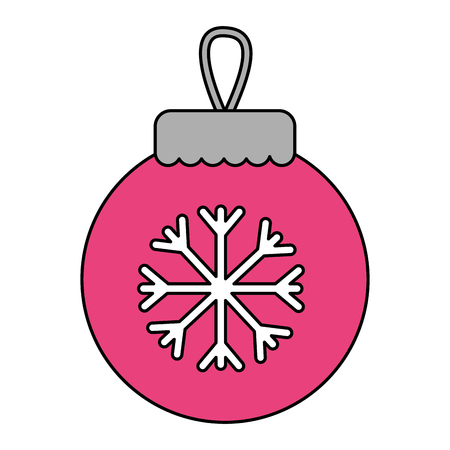 merry christmas pink ball snowflake decoration vector illustration