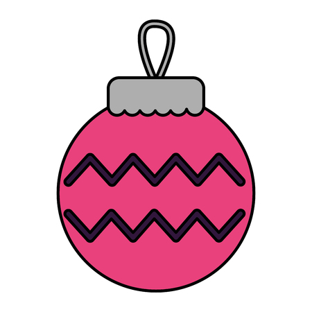 merry christmas ball stripe decoration vector illustration