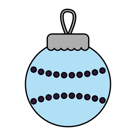 merry christmas blue ball decoration vector illustration Stock Illustratie