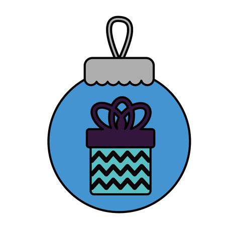 merry christmas blue ball gift box decoration vector illustration